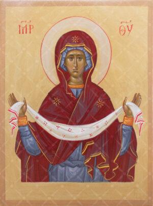 Покрова Пресвятой Богородицы писанная икона на доске