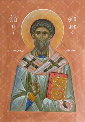 Священномученик Феодор Александрийский писанная икона на доске